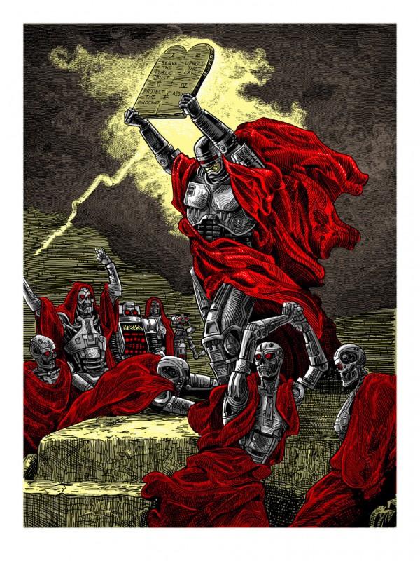 RoboMoses: Murphy Delivers the Law by Tim Doyle - RoboCop, Terminator, Johnny 5, Short Circuit, ten commandments