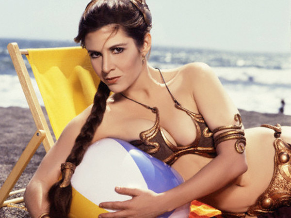 Carrie Fisher in Slave Leia Gold Bikini from Rolling Stone July 1983