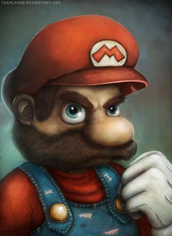 Mario Portrait by Mange & Viggo - Nintendo, Super Mario Bros, Gaming, Fanart