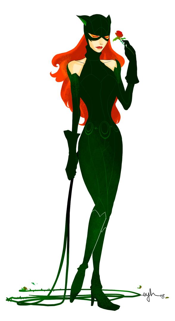 Batman Villain Mashup: POISONCAT by Gingashi - Poison Ivy x Catwoman