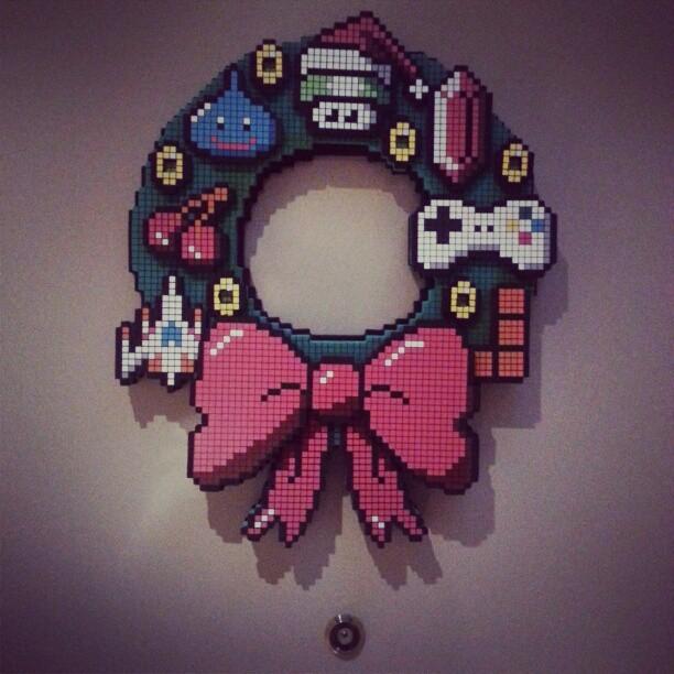 Pixelated Gaming Christmas Wreath