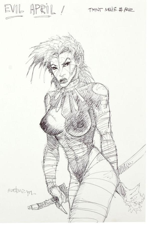 Evil April O'Neil with visible nipples by Kevin Eastman - tmnt concept art