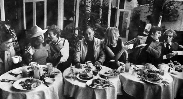 Young Frankenstein - Madeline Kahn, Gene Wilder, Mel Brooks, Teri Garr, Peter Boyle, and Marty Feldman at a restaurant