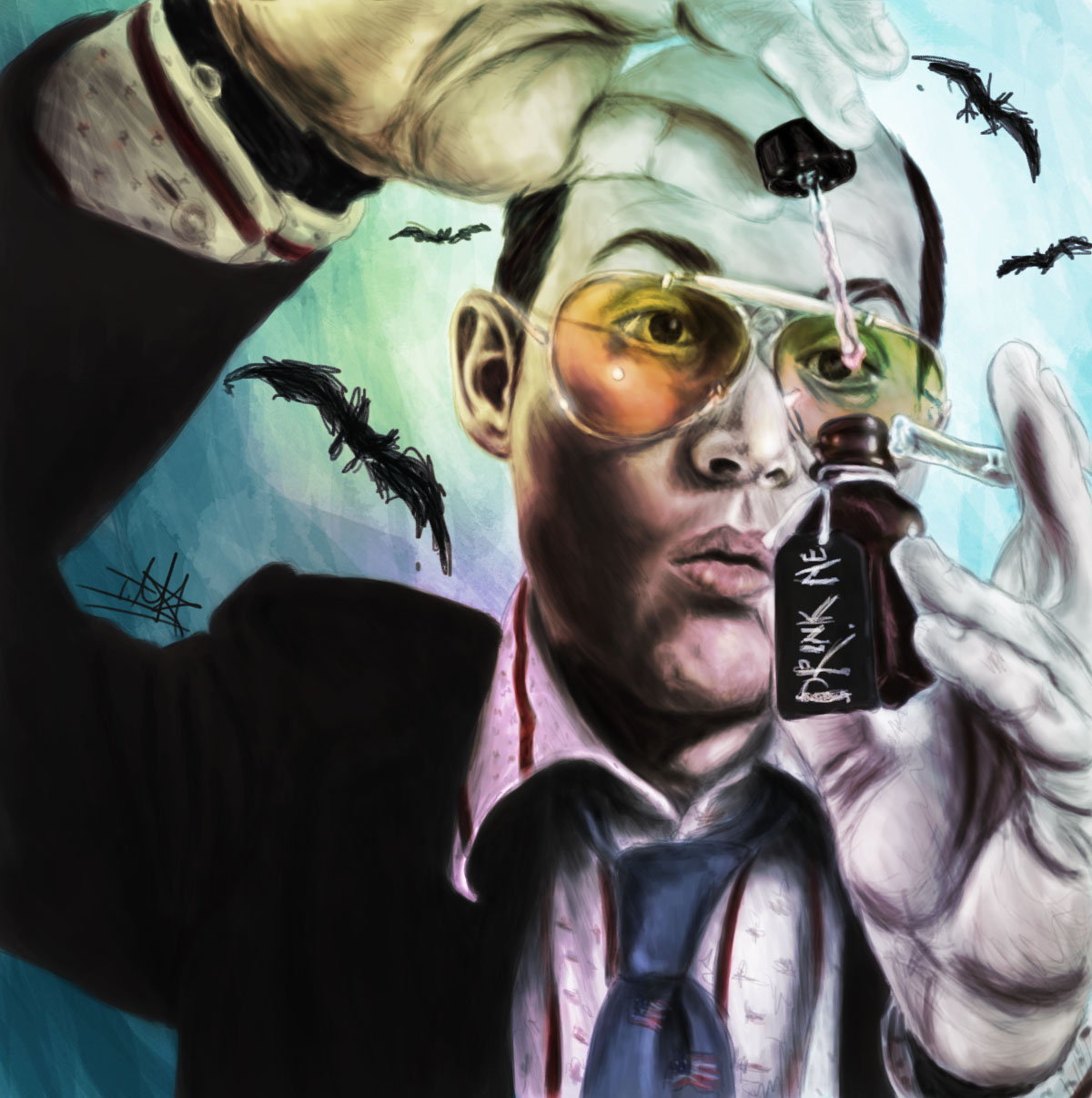 62e1c809b Drink Me: Fear and Loathing in Las Vegas Painting by TheTanyaDoll - Hunter  S.