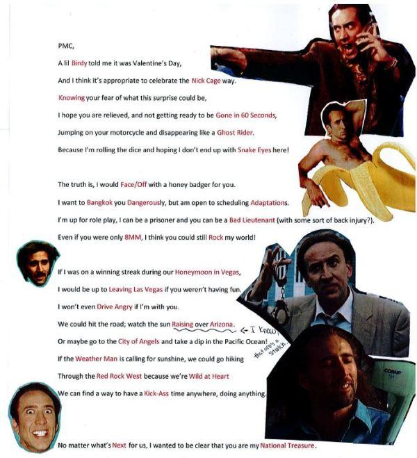 Nicolas Cage Valentine's Day Poem