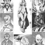 Star Wars Manga Sketch Cards by 2ngaw - anime, darth vader, slave leia, yoda
