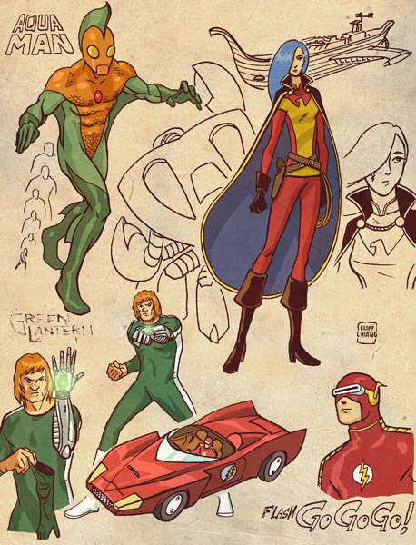Aquaman, Green Lantern, Wonder Woman, Flash - Retro Anime Style DC Superheroes by Cliff Chiang