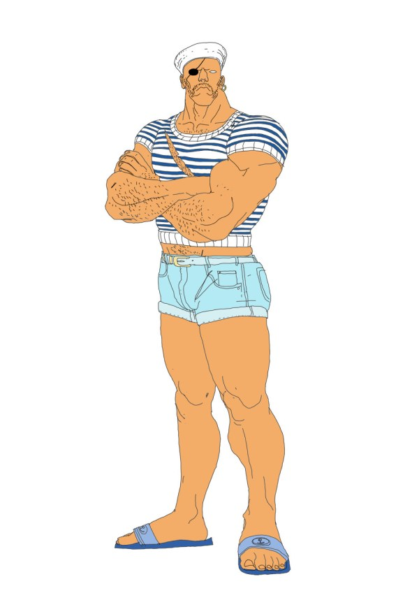 Sailor Sagat - Fighting Game Fashion Illustrations by Bastien Vives