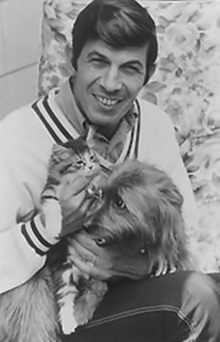Leonard Nimoy with his dog and cat