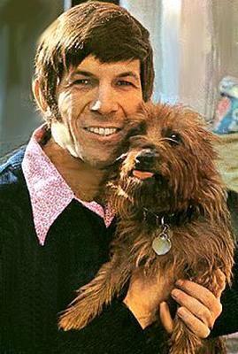 Leonard Nimoy with his dog