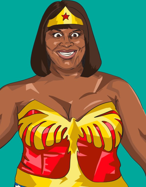 Donna Meagle as Wonder Woman - Parks and Recreation, Justice League, Retta