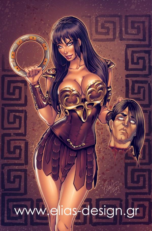 Xena Warrior Princess Pinup Art by Elias Chatzoudis