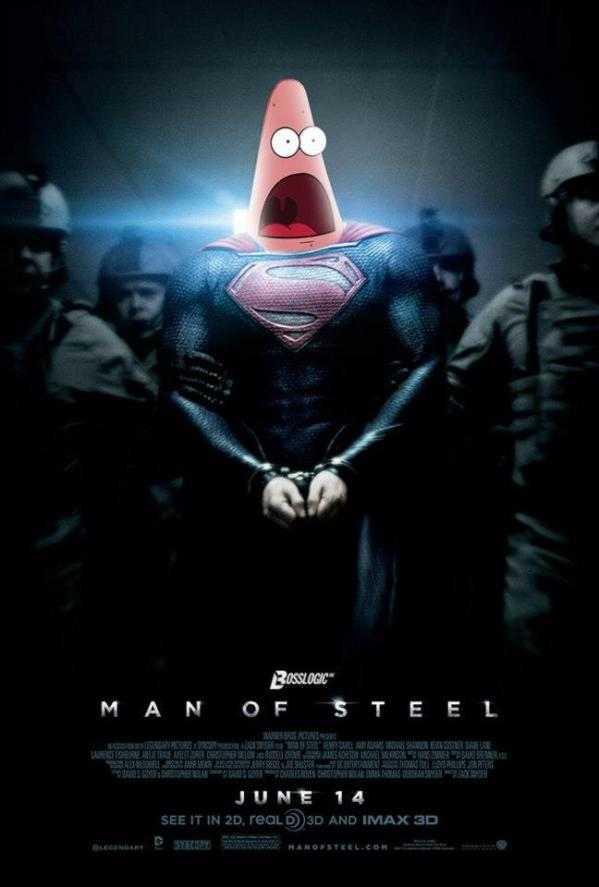 Surprised Patrick x Man of Steel Poster - SpongeBob SquarePants, Patrick Star, Superman