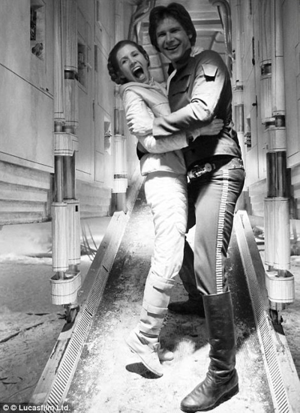 Han Solo (Harrison Ford) and Princess Leia (Carrie Fisher) -Star Wars Empire Strikes Back Behind the Scenes
