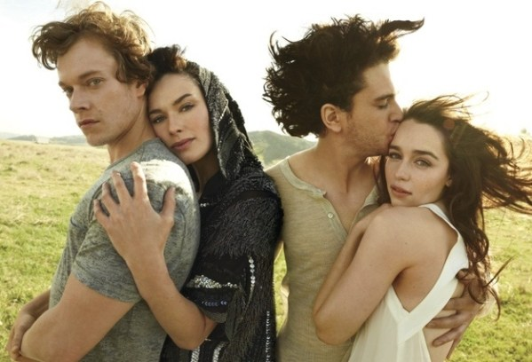 Game of Thrones Cast: Alfie Allen (Theon Greyjoy), Lena Headey (Cersei Lannister), Kit Harington (Jon Snow), Emilia Clarke (Daenerys Targaryen)