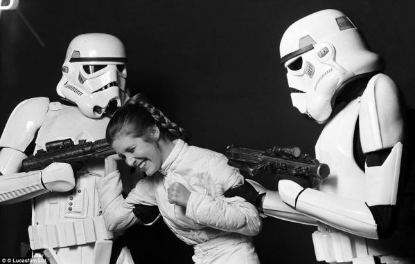 Princess Leia (Carrie Fisher) and Stormtroopers - Star Wars Empire Strikes Back Behind the Scenes