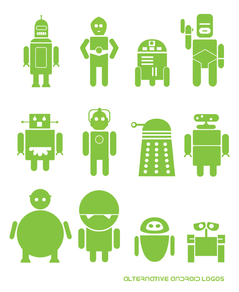 Alternative Android Logos Based on Robots from TV & Film by Matt Cowan