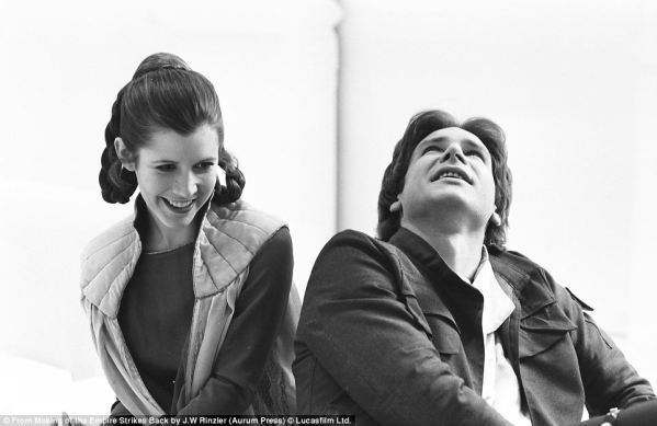 Princess Leia (Carrie Fisher) and Han Solo (Harrison Ford) - Star Wars Empire Strikes Back Behind the Scenes