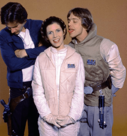 Han Solo (Harrison Ford), Princess Leia (Carrie Fisher) and Luke Skywalker (Mark Hamill) - Star Wars Empire Strikes Back Behind the Scenes