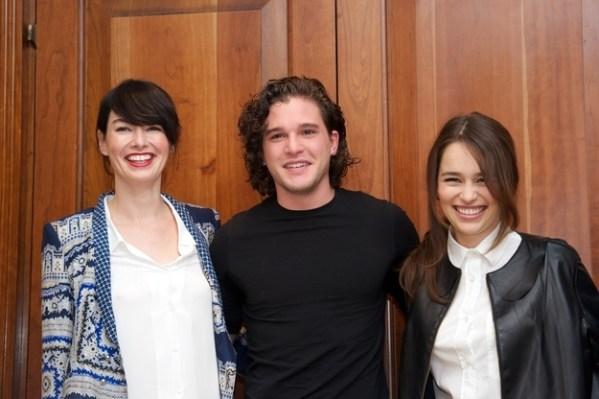 Game of Thrones Cast: Lena Headey (Cersei Lannister), Kit Harington (Jon Snow), Emilia Clarke (Daenerys Targaryen)