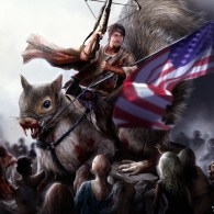 Daryl Dixon Riding Giant Squirrel with Crossbow and American Flag - Walking Dead FanArt