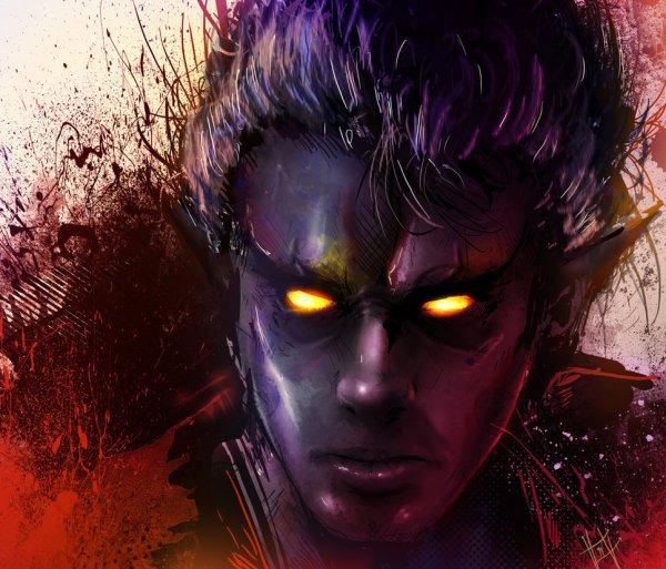 Nightcrawler Portrait by Vincent Vernacatola - Marvel Comics Art - X-Men