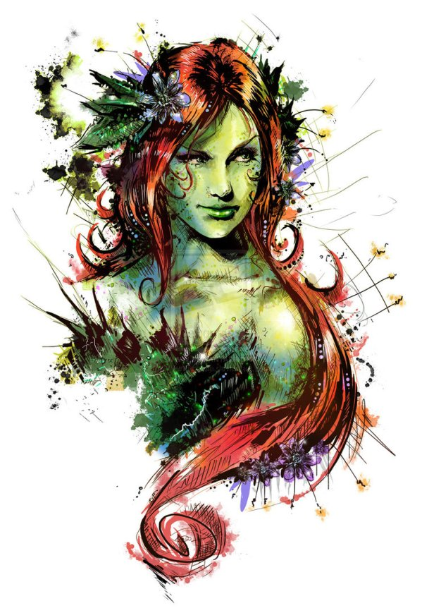 Poison Ivy Portrait by Vincent Vernacatola - Batman Comics Art