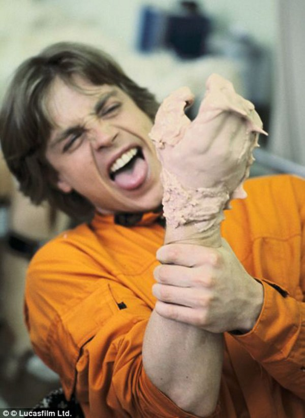 Mark Hamill molding his hand - Star Wars Empire Strikes Back Behind the Scenes