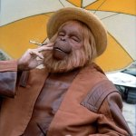 Dr Zaius Smoking a Cigarette - Planet of the Apes Behind the Scenes Photo