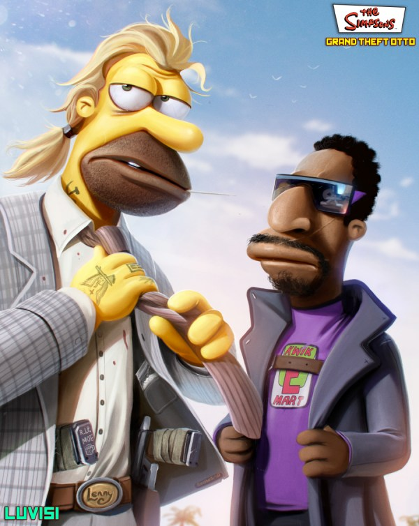 Lenny and Carl - Grand Theft Otto: The Simpsons as Gritty '80s Crime Drama by Dan LuVisi