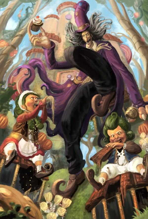 Hansel and Gretel vs Willy Wonka the Whangdoodle by Rupy Bhogal - Oompa Loompas - Reimagined Fairy Tale Illustrations