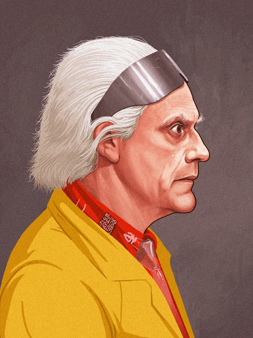 Doc Emmett Brown (Christopher Lloyd) from Back to the Future by Mike Mitchell - Robert Zemeckis