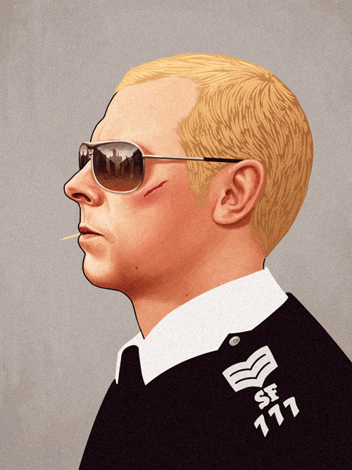 Nicholas Angel (Simon Pegg) from Hot Fuzz by Mike Mitchell - Edgar Wright