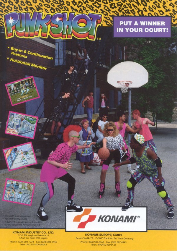 Punk Shot (1990) - Konam Arcade Flyer