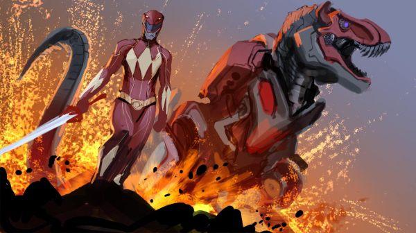 Red Ranger and Tyrannosaurus Dinozord by nebezial - Mighty Morphin Power Rangers Art