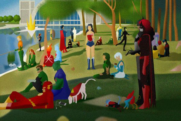 Saturday Morning In Front Of LaSalle DeJustice by Rey Taira - DC Comics - Justice League
