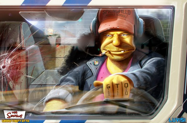 Otto - Grand Theft Otto: The Simpsons as Gritty '80s Crime Drama by Dan LuVisi
