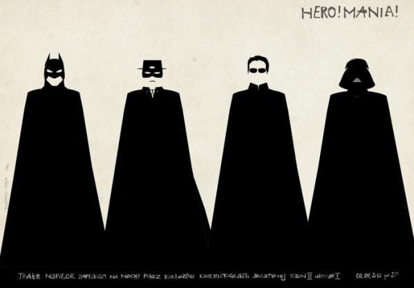 polish batman zorro neo and darth vader poster - Matrix, Star Wars