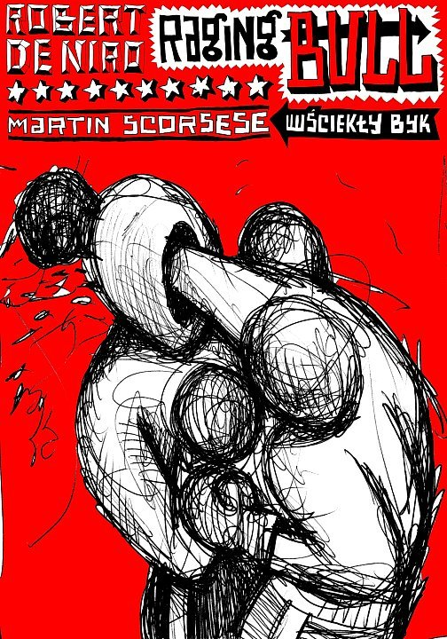 polish raging bull poster - martin scorsese, Robert Deniro