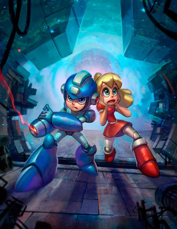 mega man and roll by Matthew S. Armstrong - Rockman