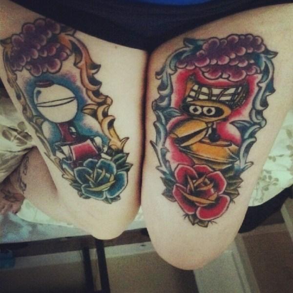 mst3k tom servo crow leg tattoos - mystery science theater 3000