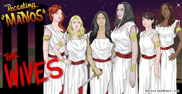 recasting manos - the wives - Christina Hendricks, Stevie Nelson, Olivia Munn, Diana Knight, Milana Vayntrub and Aisha Tyler.