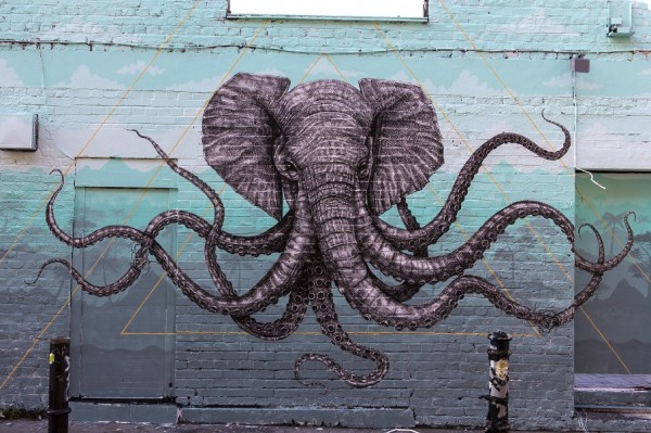 Cthulhuphant: Elephant x Octopus Hybrid by Alexis Diaz - Street Art