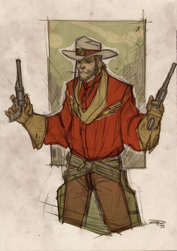 Wild West Flash by Denis Medri - Western Justice League Redesign
