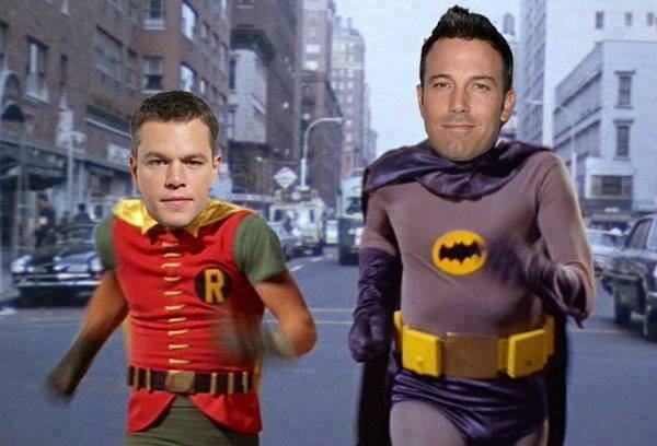 Mashup of Ben Affleck and Matt Damon with Adam West and Burt Ward as Batman and Robin.