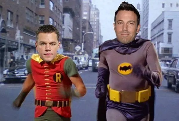 Photoshop mashup of Ben Affleck and Matt Damon with Adam West and Burt Ward as Batman and Robin.