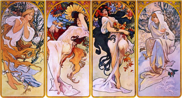 Four Seasons by Alphonse Mucha Circa 1895