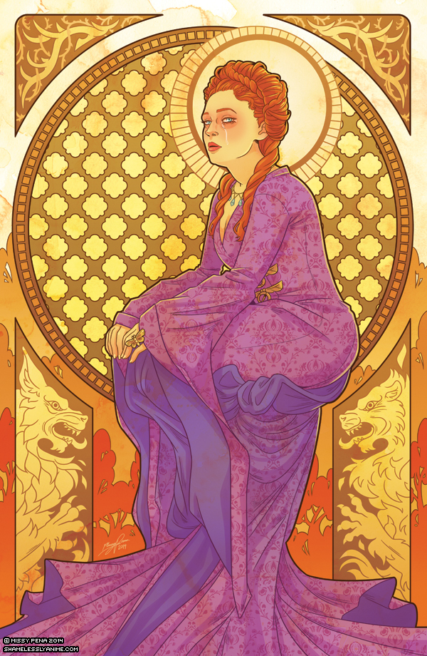 Sansa Stark - Game of Thrones Art Nouveau - A Song of Ice and Fire Illustrations