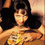 Uma Thurman as Mia Wallace with Pulp Magazines and Gun - Pulp Fiction Photoshoot - Quentin Tarantino