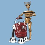 Star Wars x Mystery Science Theater 3000 Mashup. C-3PO x Crow T. Robot and R2-D2 x Tom Servo.